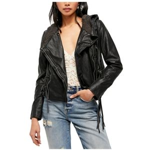 💖Free People Cleo Faux Suede Hooded Moto Jacket